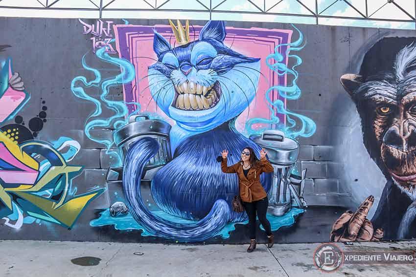 Grafiti de un gato en el recinto ferial de Torrejón