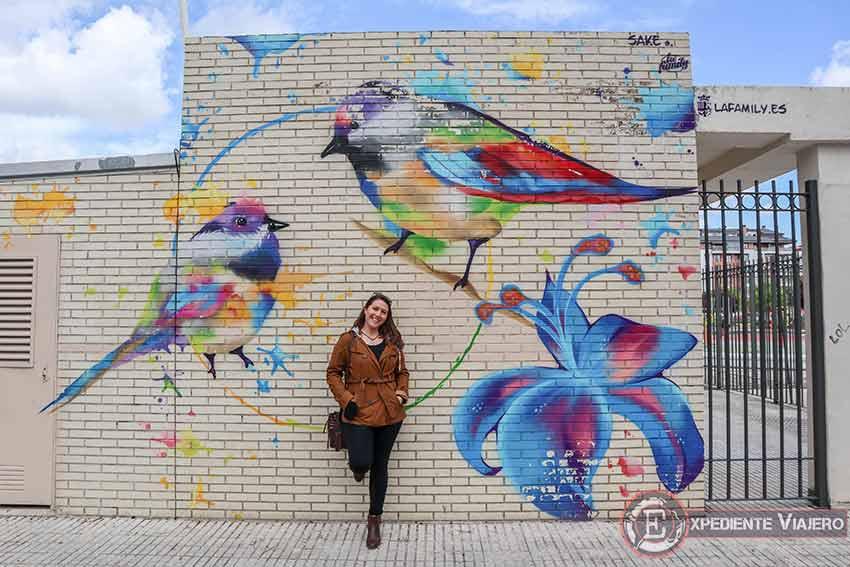 Grafiti de pájaros en el Parque Rosario