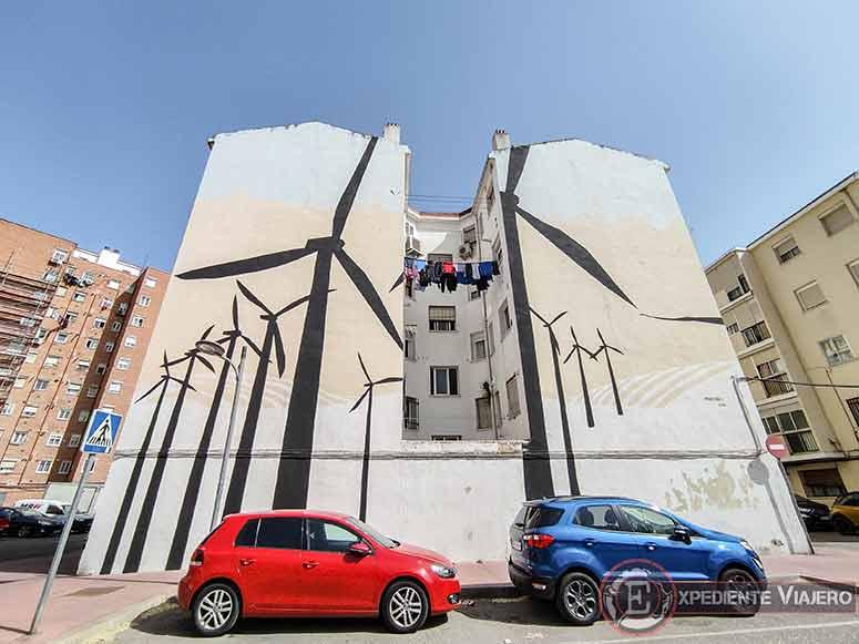 Grafiti de los molinos de viento en Alcalá