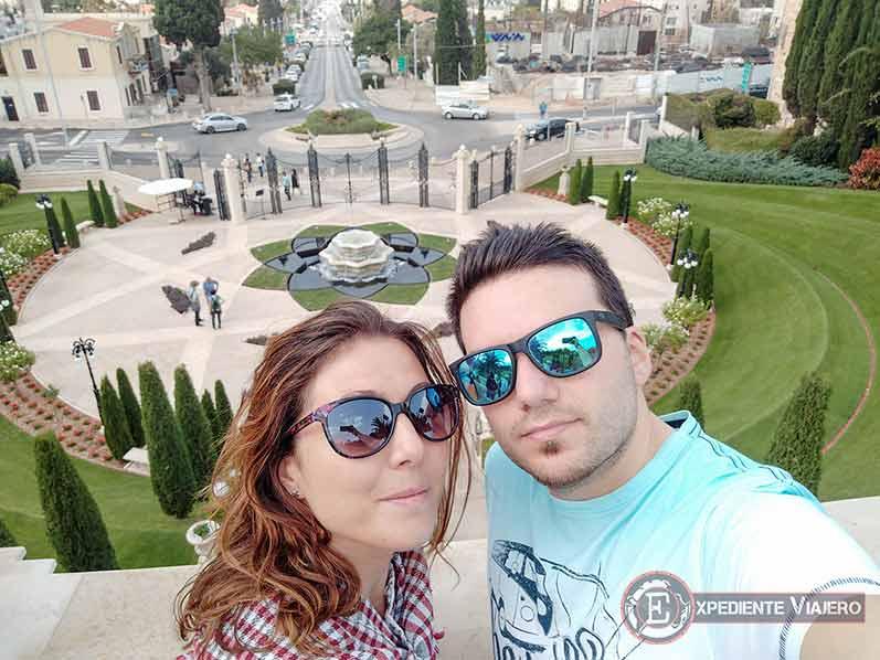 Vistas desde la primera terraza de los jardines de Haifa