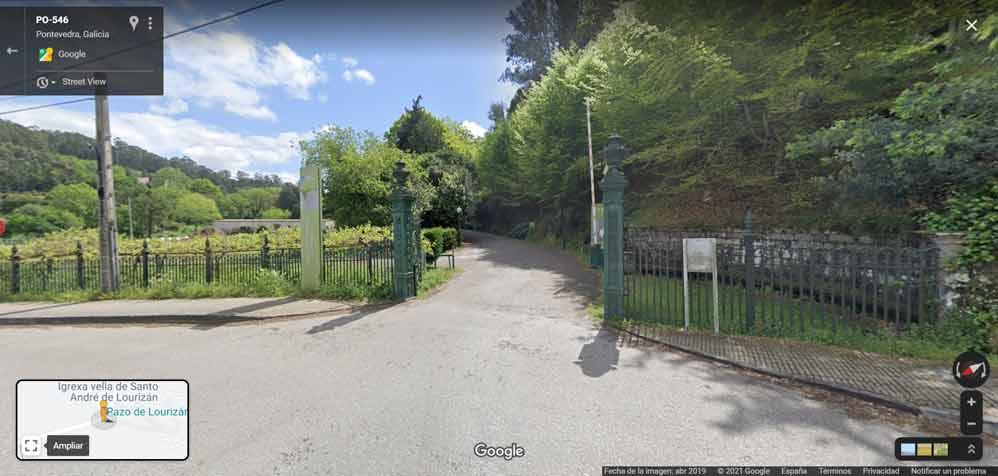 Entrada del Pazo de Lourizán en el Google Street View