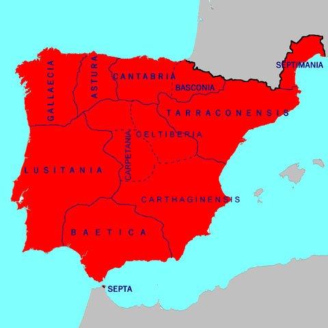 Historia del Toledo medieval: Mapa de España durante el Reino Visigodo
