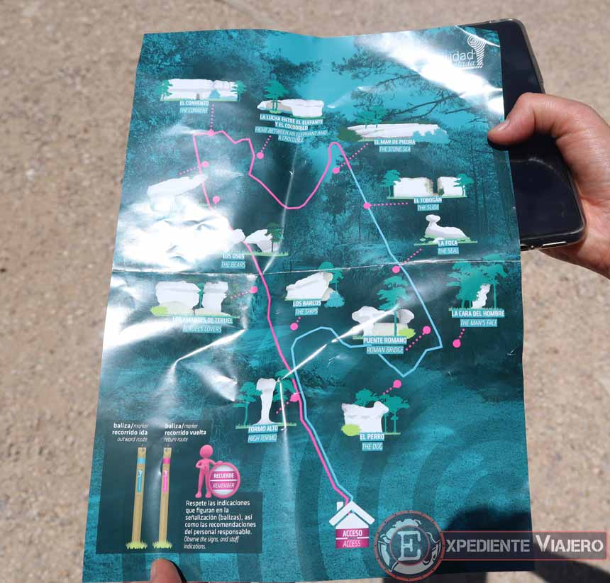 Mapa de la ruta por la Ciudad Encantada
