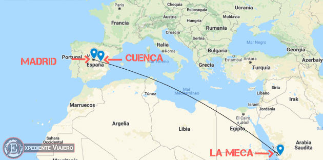 Mapa de Madrid, Cuenca y La Meca